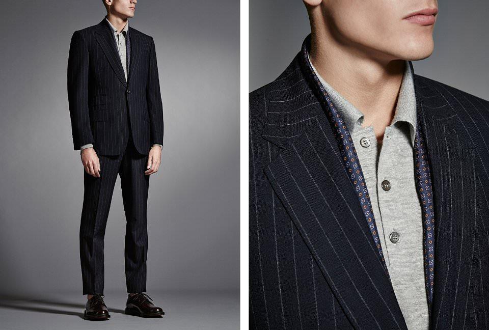 Se necesita un hombre valiente para experimentar con estampados en atuendo  formal –así que mantenga un look empresarial con un terno a rayas con  botonadura ... e51d6869e25