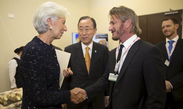 Christine Lagarde se reunió con Sean Penn y el secretario general de la ONU en seminario del FMI en Lima - Noticias de fmi