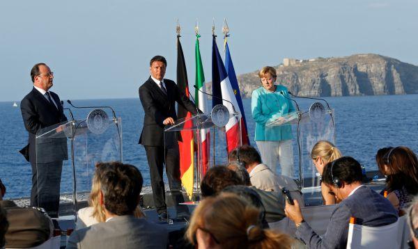 Merkel, Hollande y Renzi se reúnen en el Mediterráneo para relanzar la UE - Noticias de servir